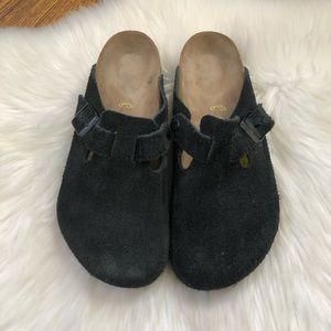 Birkenstock Black Suede Mule Clogs